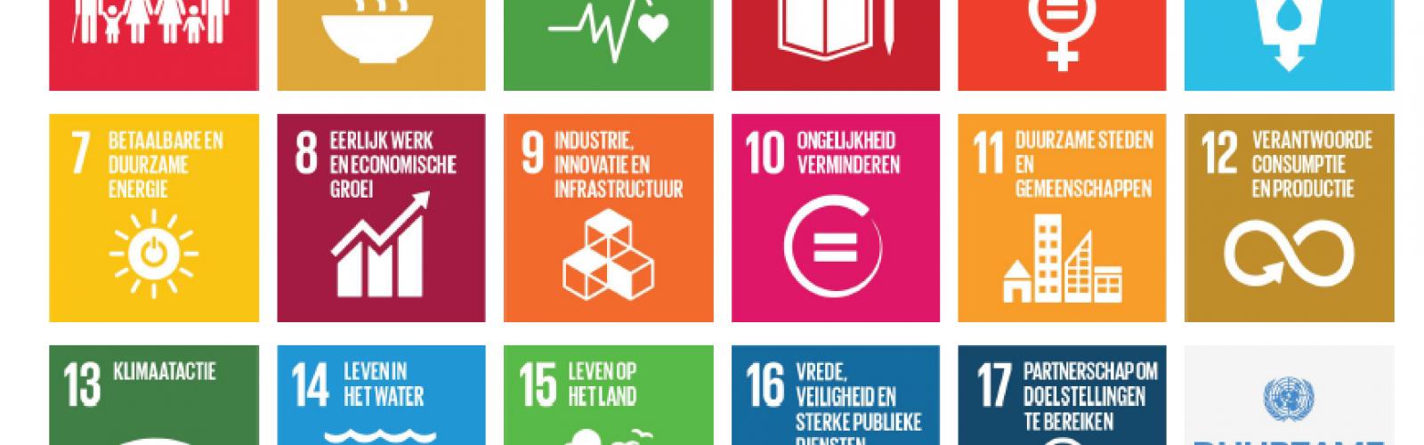 pictogrammen van 17 doelstellingen voor duurzame ontwikkeling