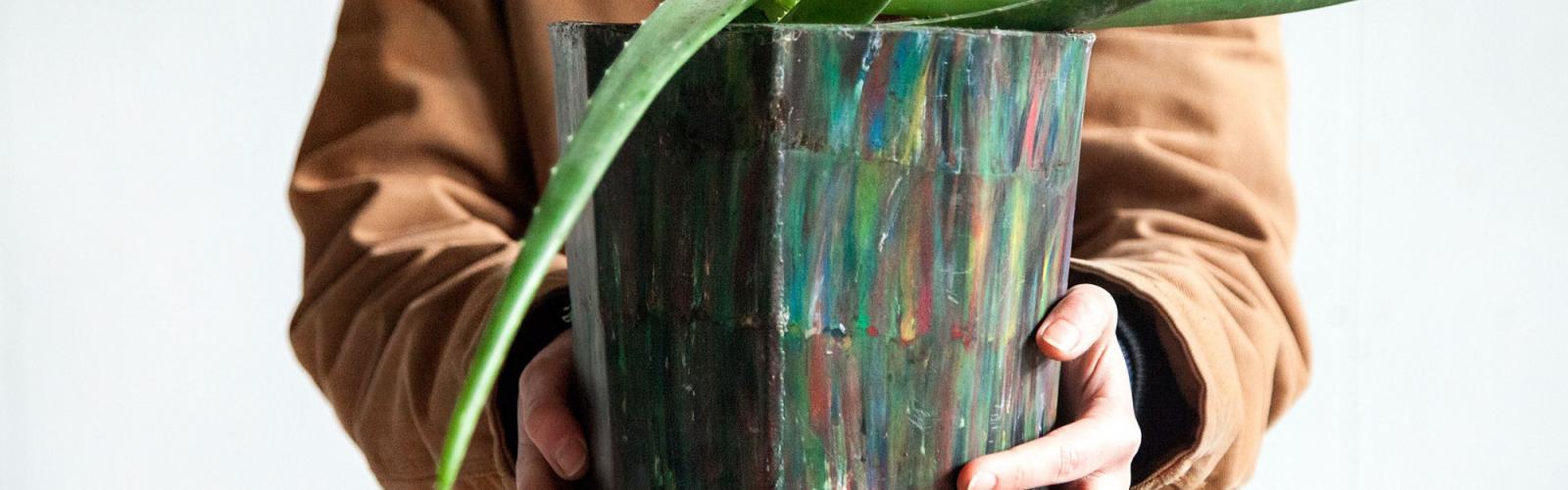 bloempot van gerecycleerd plastic