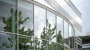 bedrijfsgevel glas bomen